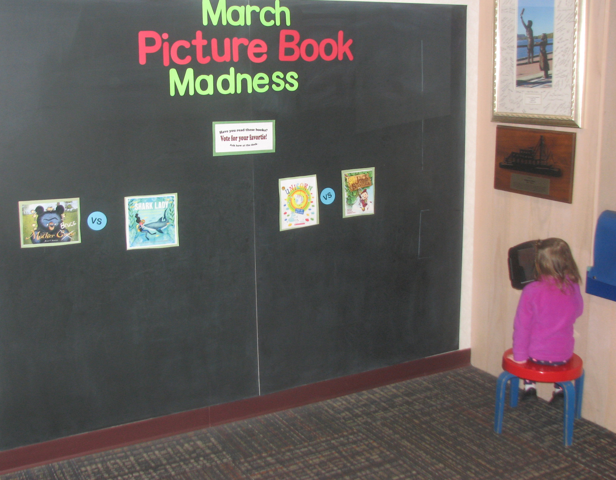 Stop by the Children's Room to help us complete our March Book Madness bracket! Choose your favorite picture books and middle grade novels. We'll announce the finalists on March 28.