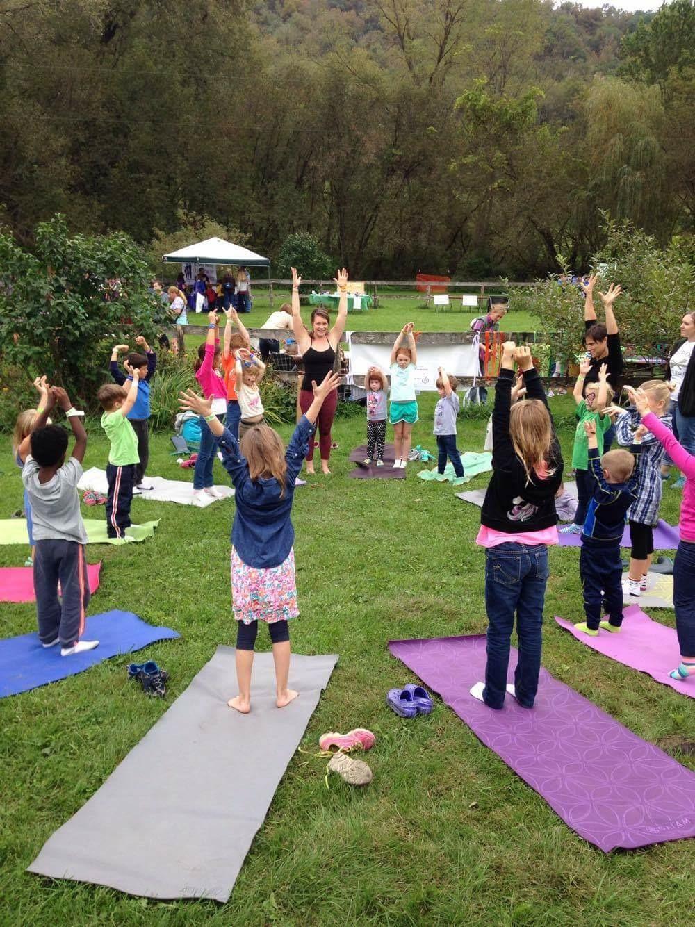 Family yoga outside