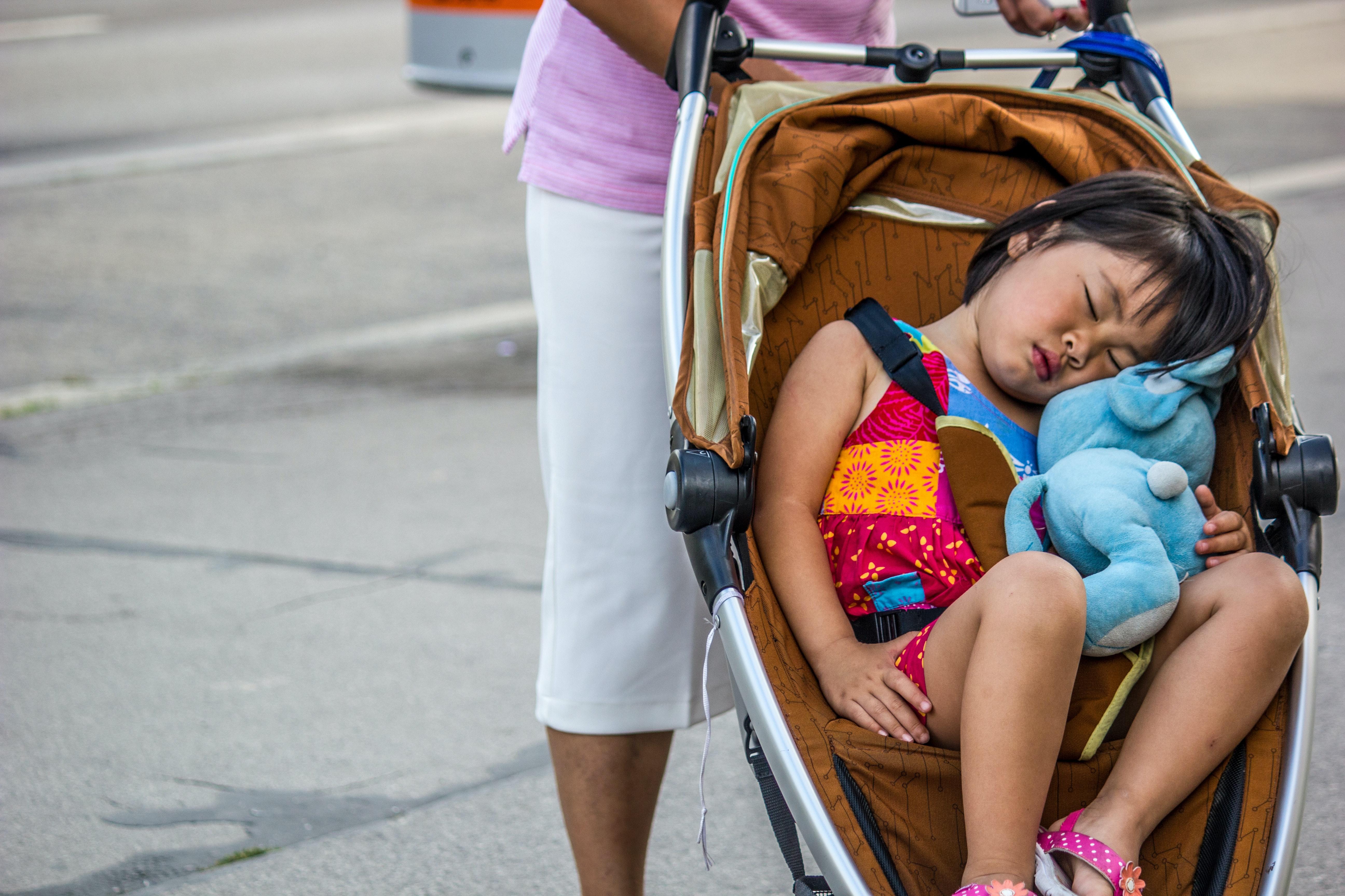 Toddler asleep in stroller