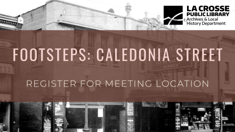 """Footsteps graphic of Caledonia Street reading """"Register for meeting location"""""""