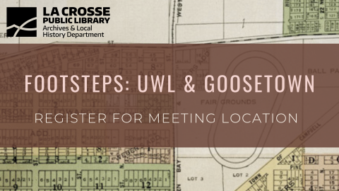 "Footsteps graphic of Goosetown reading ""Register for meeting location"""