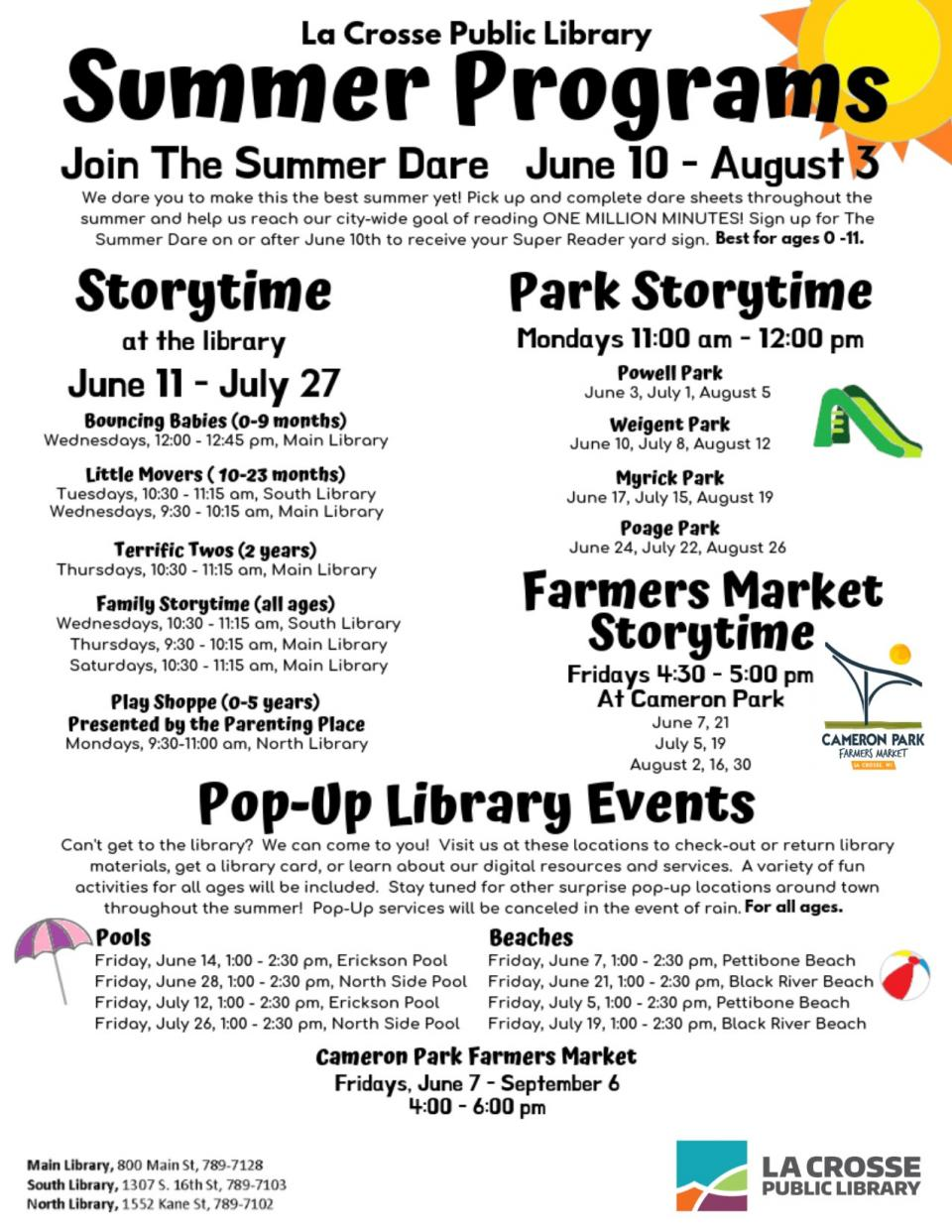 The La Crosse Public Library offers a full schedule of story times for children of all ages from June 11-July 27, 2019. For more information on children's story times, please check our online calendar or call 608-789-7128.